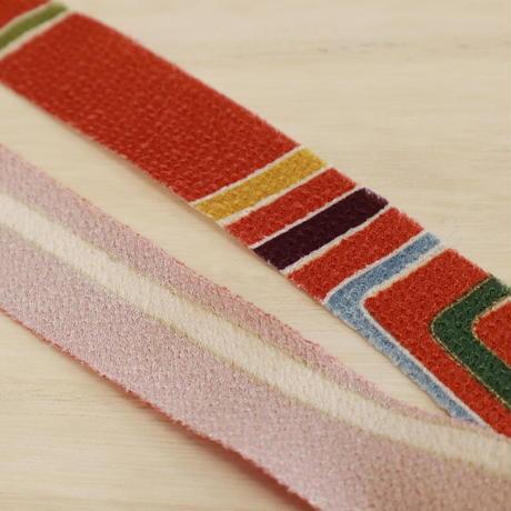 煉瓦色に色とりどりの線画小紋・縮緬2m(2008014)