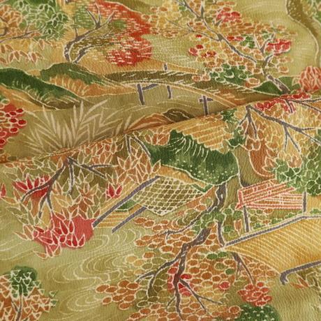 【はぎれ】抹茶色の茶屋辻・秋の景色小紋・縮緬50㎝(2008030-1)