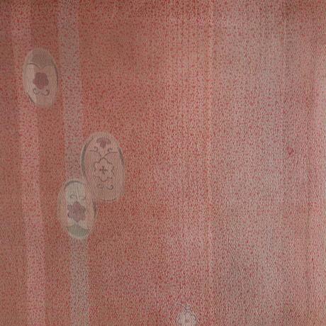 【はぎれ】鼠色に臙脂色、薄茶色の霰柄小紋・縮緬(2008011-1)