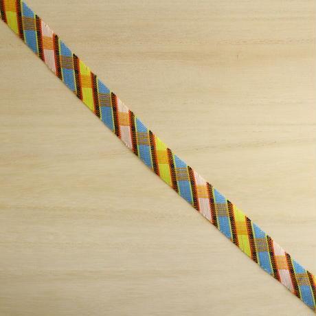 黄・水色の格子模様・交織(733)