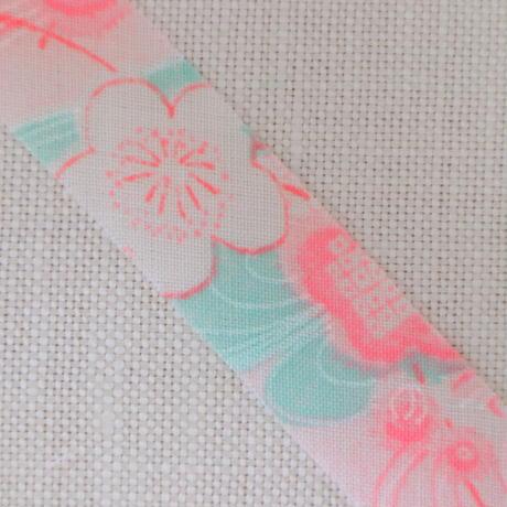 ピンクと水色の流水や梅柄・モスリン2m