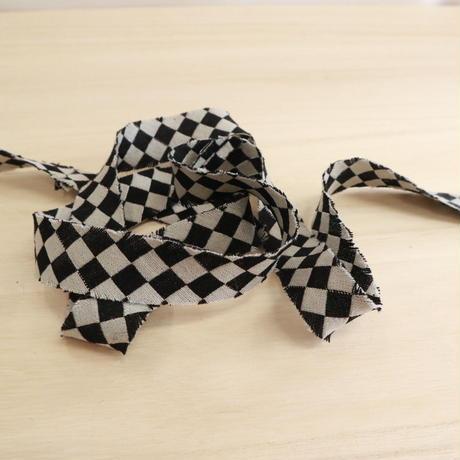 黒と白の市松模様・交織2m(2006075)