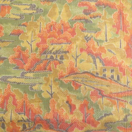 【はぎれ】緑オレンジ黄色の茶屋辻柄・紬(2008039-1)