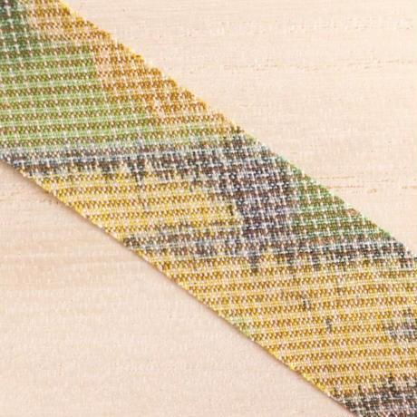 緑オレンジ黄色の茶屋辻柄・紬2m(2008039)