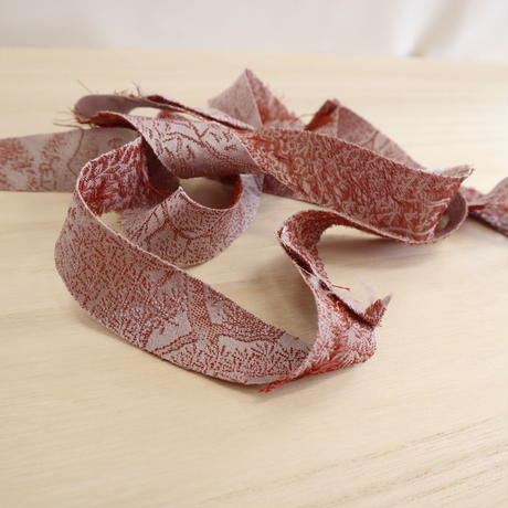 桜鼠色・山水画の絹織物2m(2008046)