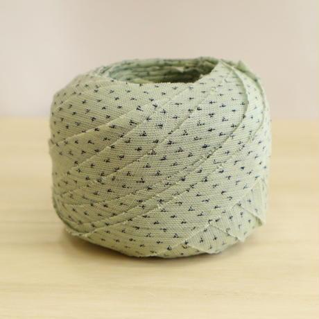 薄い緑に蚊絣模様・夏の着物・交織(730)