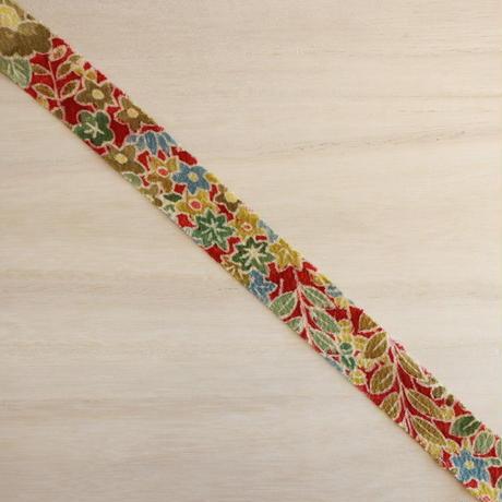 赤茶色に花づくし小紋・縮緬2m(2008019)