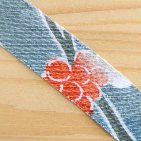 青磁色に南天柄訪問着・紬2m(2008099)