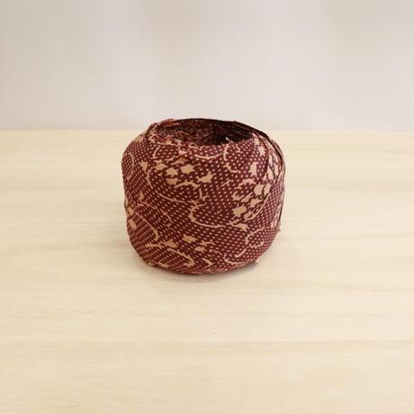 茶に水玉と花柄・化繊2m(2006069)