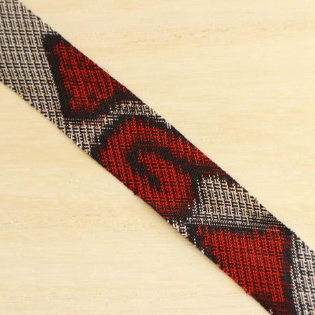 生成と黒に赤の花柄・大島紬2m(2007016)
