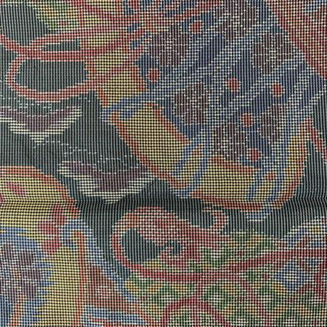 【はぎれ】鼓、熨斗、市松、松竹梅柄・大島紬50㎝(2108005ー1)