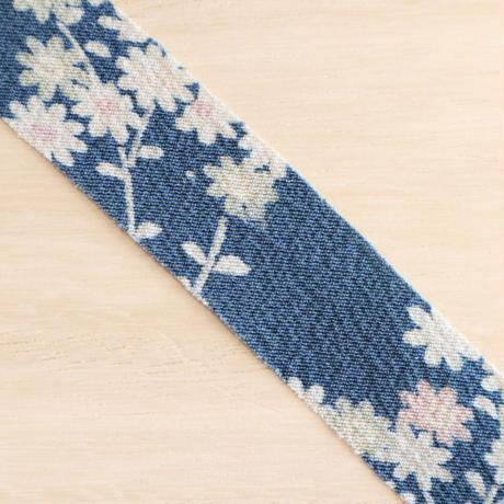 縹色に小花・縮緬2m(2008042)
