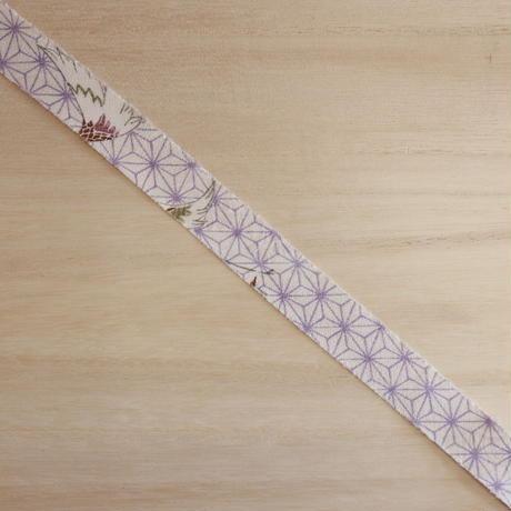 白地に薄紫の麻の葉柄・綸子2m(2006076)