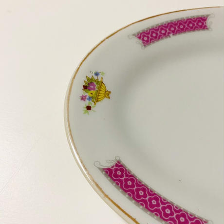 粉紅邊花籠 オーバル皿  o-154