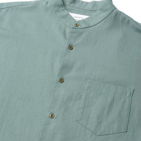 SANDINIST-Band Collar Cotton Wool Shirt【SMOKE GREEN】