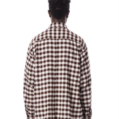 SANDINISTA-Flannel Check Yak Wool Shirt【BROWN CHECK】