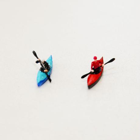 1/100サイズ人物フィギュア[カヌー2個入り](手塗り)