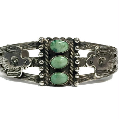 3 Point Turquoise Thunderbird Bracelet / Fred Harvey Style