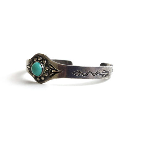 Turquoise Ten Repousse Baby Bracelet / Fred Harvey Style