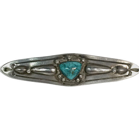 Inverted Triangle  Turquoise Repousse Pin / Fred Harvey Style