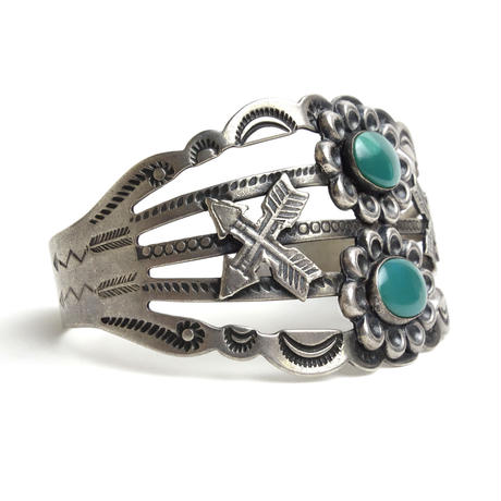 Second Turquoise Cross Arrow Bracelet / Fred Harvey Style