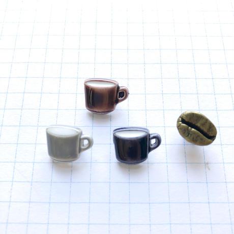 ☆期間限定☆ アソートボタンセット(コーヒー豆とコーヒーカップ)