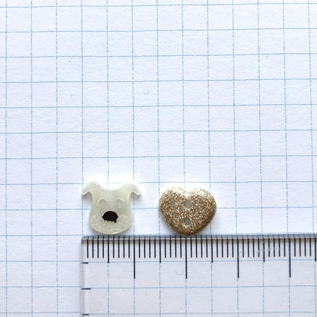 アソートボタンセット(イヌとハート col:ホワイト)