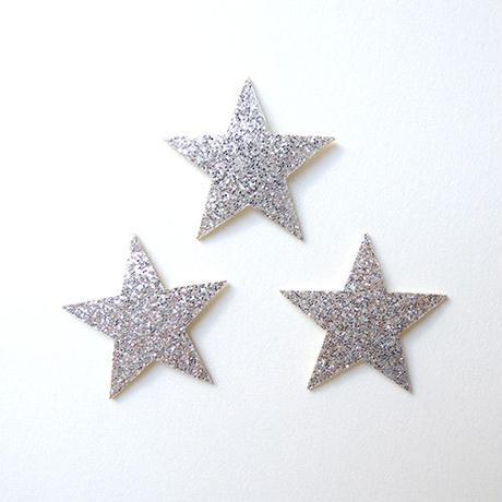 星・ラメシルバー(ワッペン)【3枚セット】