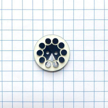 レトロドットフラワーボタン (φ18mm ネイビー×アイボリー)