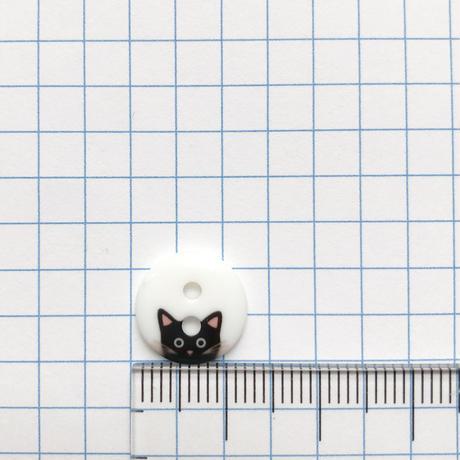 ひょっこりネコのボタン Φ12mm (JB486133  ホワイト×ブラック)