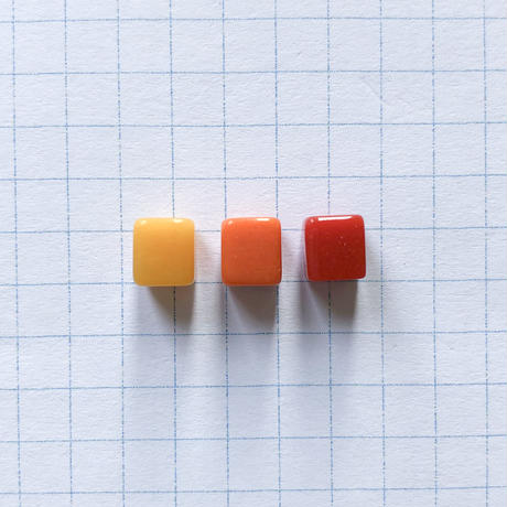 マットカラーキューブビーズ(FJ173  オレンジ)  【3個セット 】