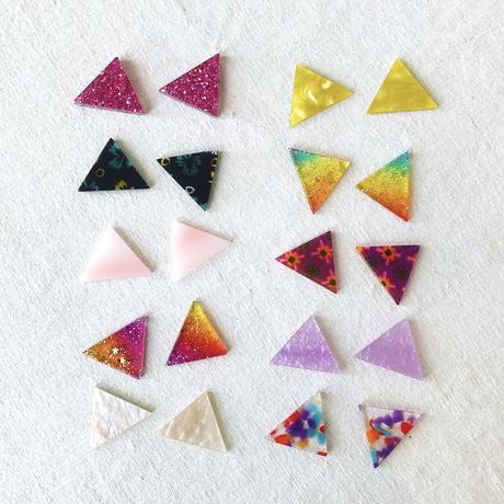 三角カボション【同色2個 + ヘアアクセサリーパーツセット】