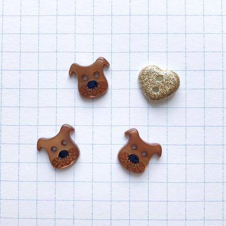 アソートボタンセット(イヌとハート col:ブラウン)