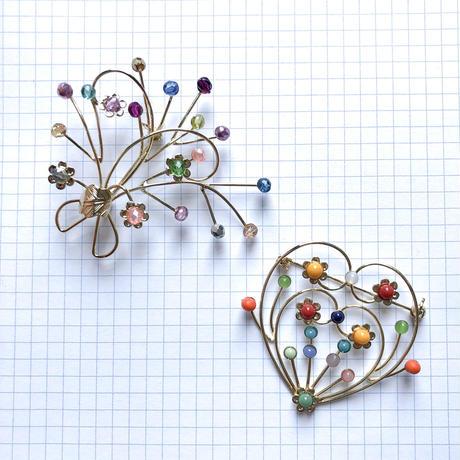 ハートとお花のブローチパーツ(ゴールド)