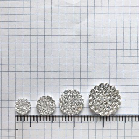 クリアドットガラスボタン 二つ穴 ・SS(Φ10mm×3mm クリア)