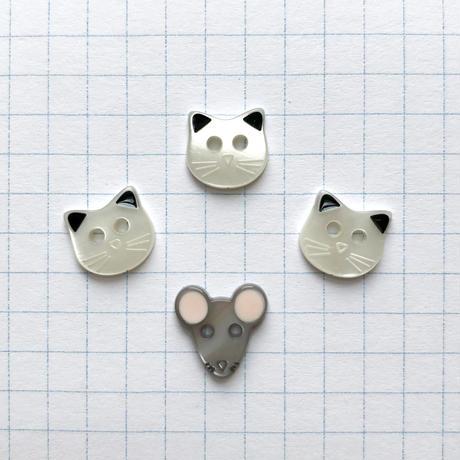アソートボタンセット(ネコとネズミ col:ホワイト)