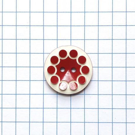 レトロドットフラワーボタン (φ18mm レッド×アイボリー)