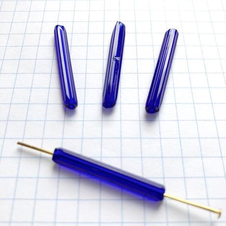 ヴィンテージフランス 竹(チューブ)ビーズパック(No.33 ロイヤルブルー)    【4本入り】
