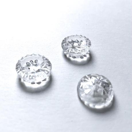 クリアガラスボタン 二つ穴 ・M(φ14mm×5mm クリア)