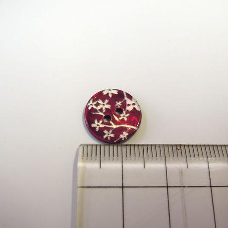 花柄シェルボタン 14mm(JB109197 レッド)
