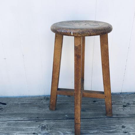 【古道具115】古い 木製 丸椅子 アンティークレトロ