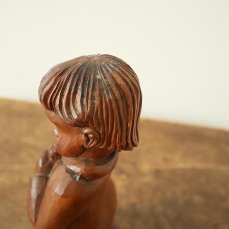 【古道具254】 木彫 オブジェ 笛を吹く子どもと犬