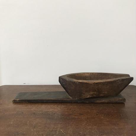 【古道具156】古い 木製 ヤゲン 受け皿付