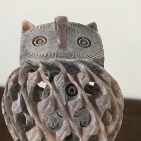【古道具118】ミミズク (フクロウ)親子の 石像