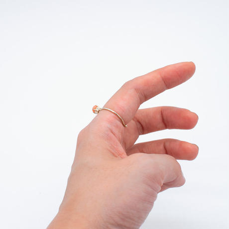 ring / K10 4x5 - ピンク珊瑚/WG