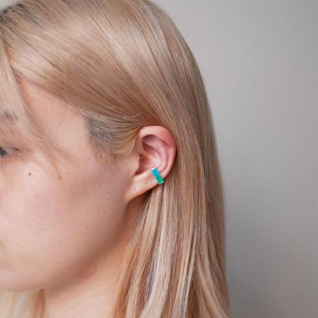 ear cuff/ K10YellowGold - グリーンアゲート×シーブルーカルセドニー