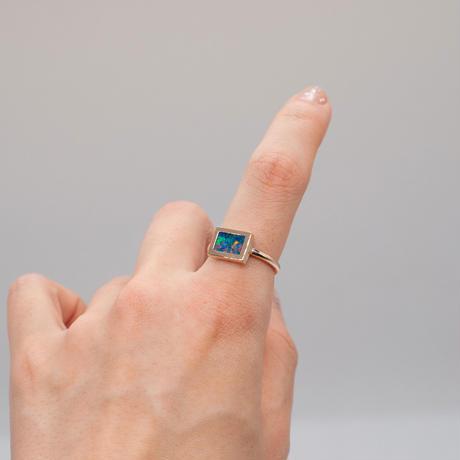 ring / K10YG window frame モザイクオパール