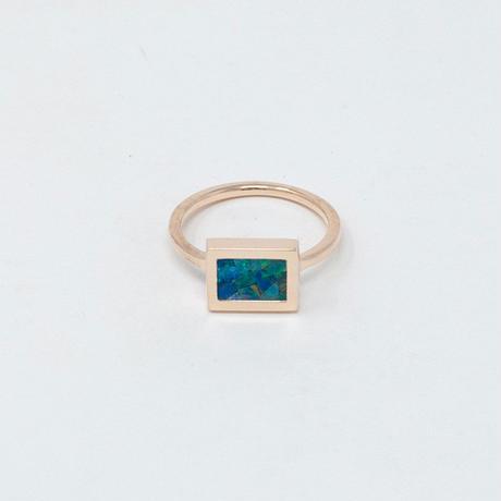 ring / K10YellowGold windowframe モザイクオパール
