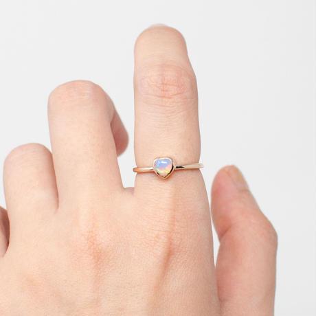 ring / K10YG heart / F - エチオピアオパール
