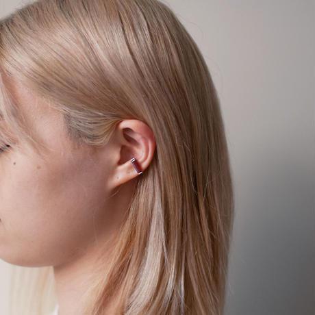 ear cuff/ K10WhiteGold - ガーネット